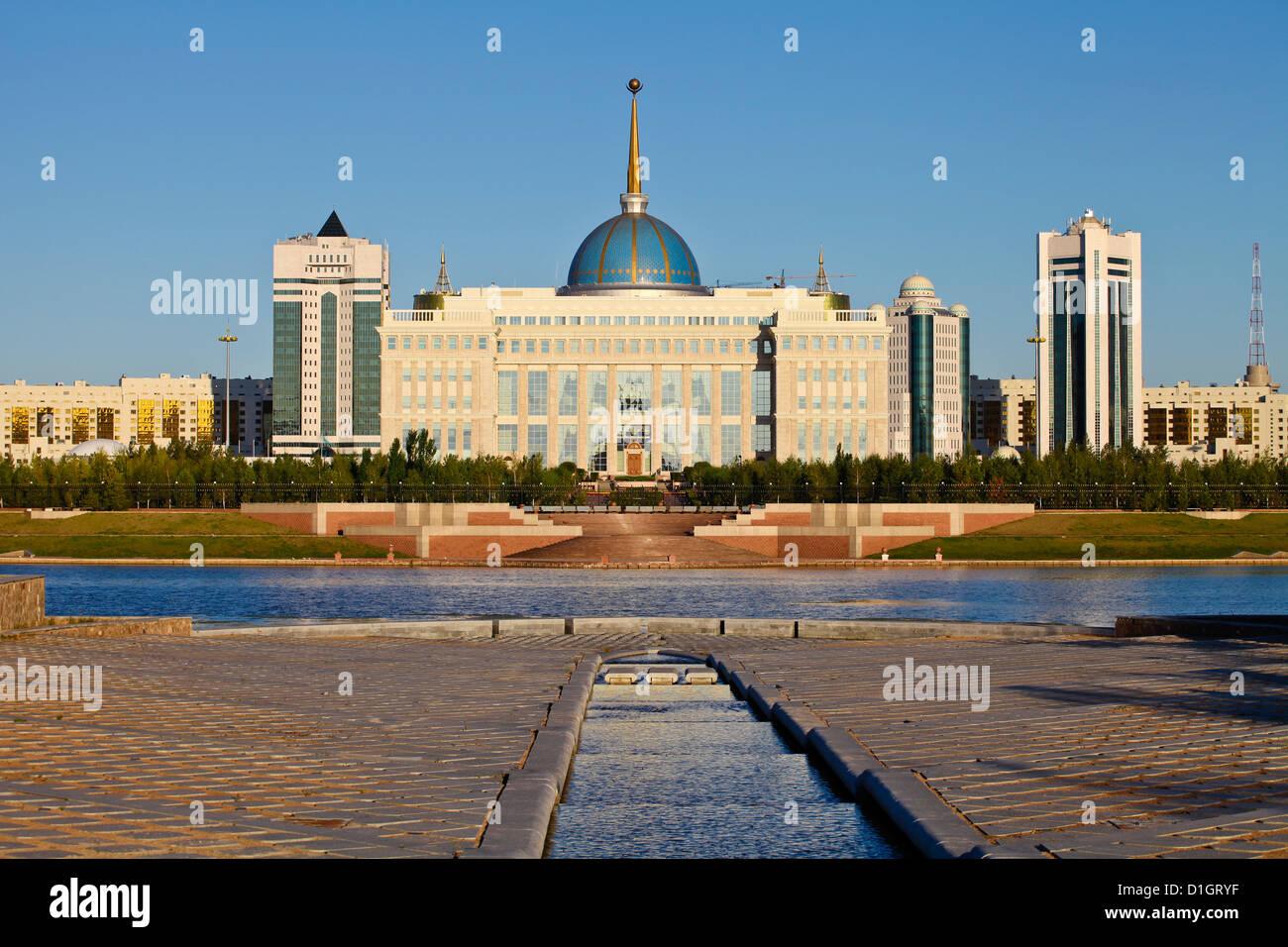 View of The Ak Orda Presidential Palace of President Nursultan Nazarbayev reflecting in Ishim River, Kazakhstan, - Stock Image