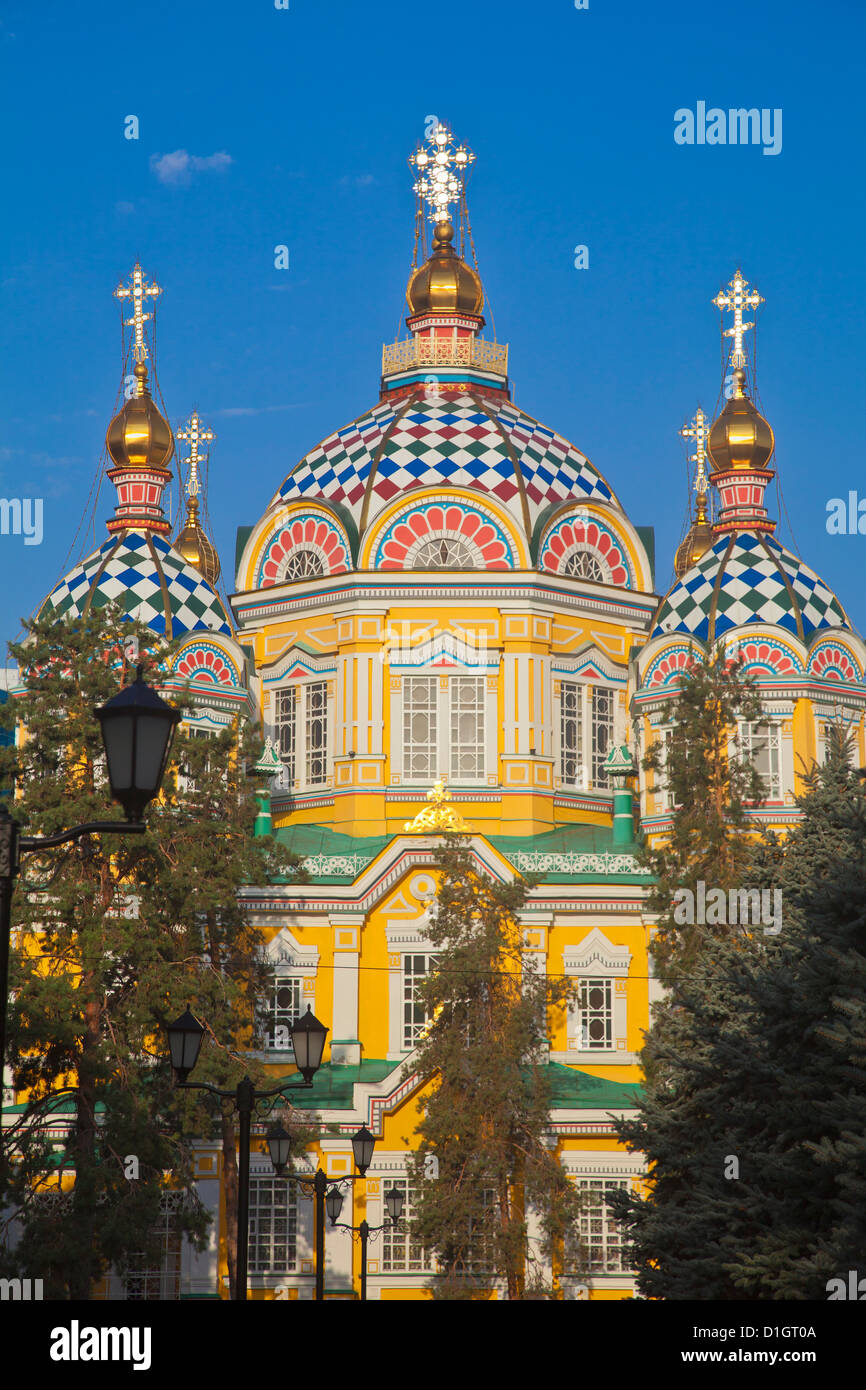 Zenkov Cathedral, built entirely of wood, Panfilov Park, Almaty, Kazakhstan, Central Asia, Asia - Stock Image