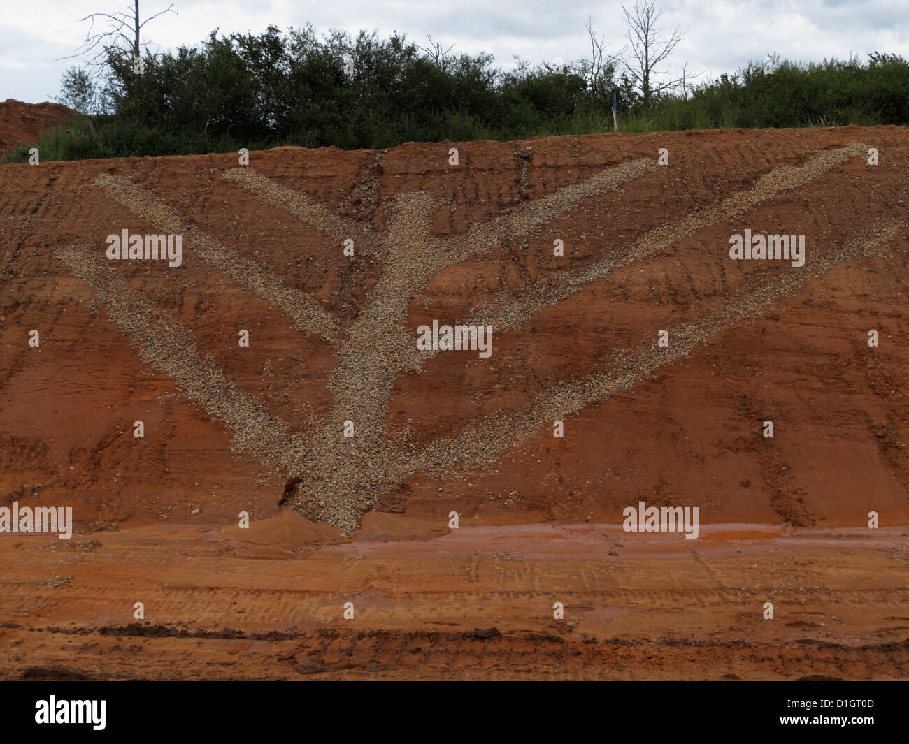 counterfort herringbone drain drains in a cutting on a new road construction site uk - Stock Image