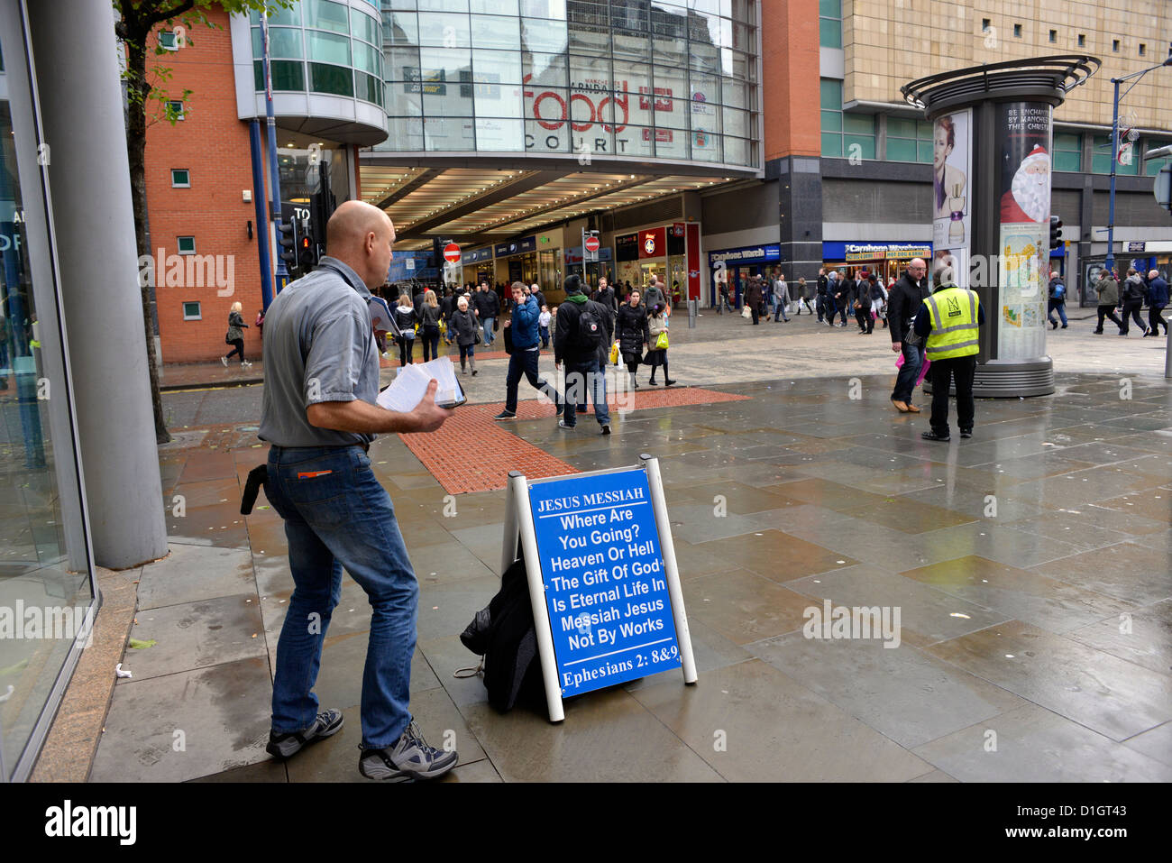 man preaching fundamental christianity in the the centre of Manchester a few days before Christmas. - Stock Image