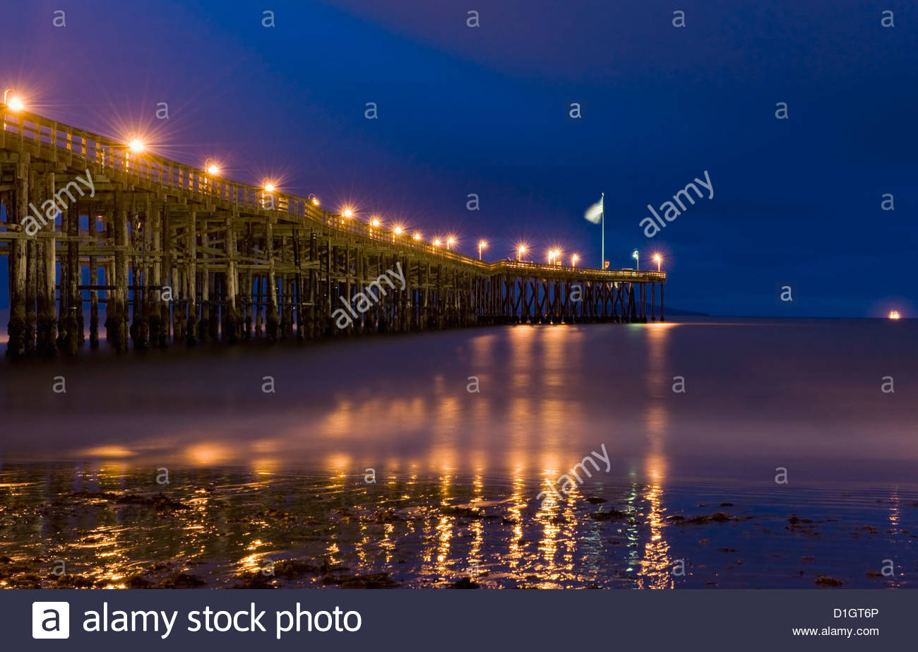 Ventura pier at night, Ventura, California, United States of America, North America - Stock Image