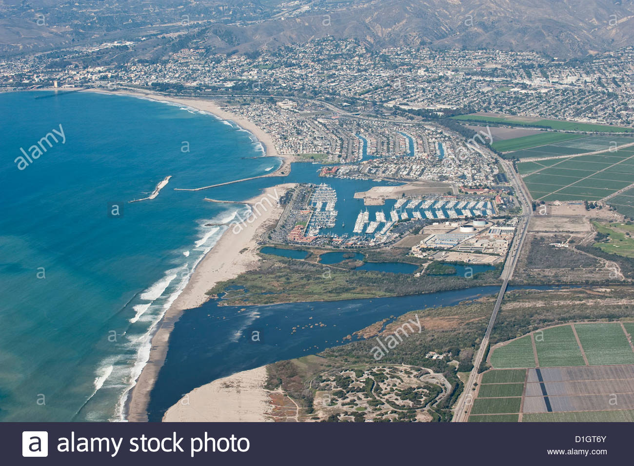 Aerial photo of Ventura marina, Ventura, California, United States of America, North America - Stock Image