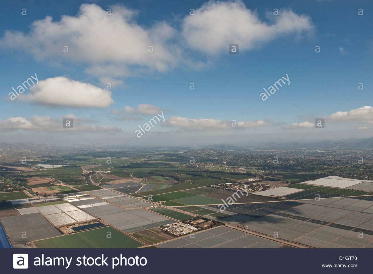 Aerial photo of clouds and farm fields, Ventura, California, United States of America, North America - Stock Image