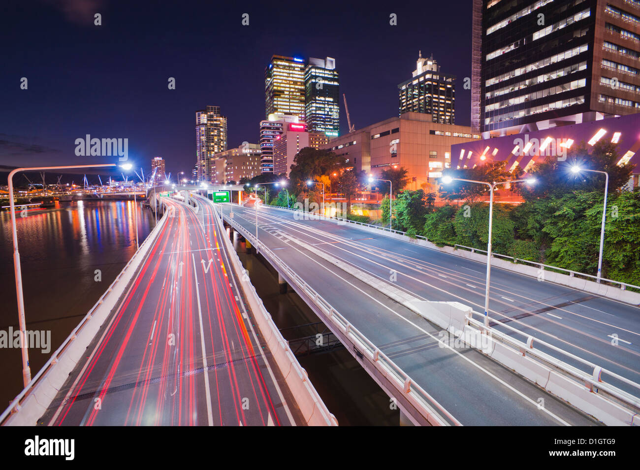 Highway in Brisbane, car light trails at night, Brisbane, Queensland, Australia, Pacific - Stock Image