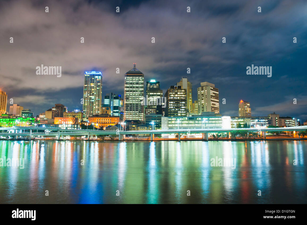 Brisbane skyline at night, taken from South Bank, Queensland, Australia, Australasia, Pacific - Stock Image