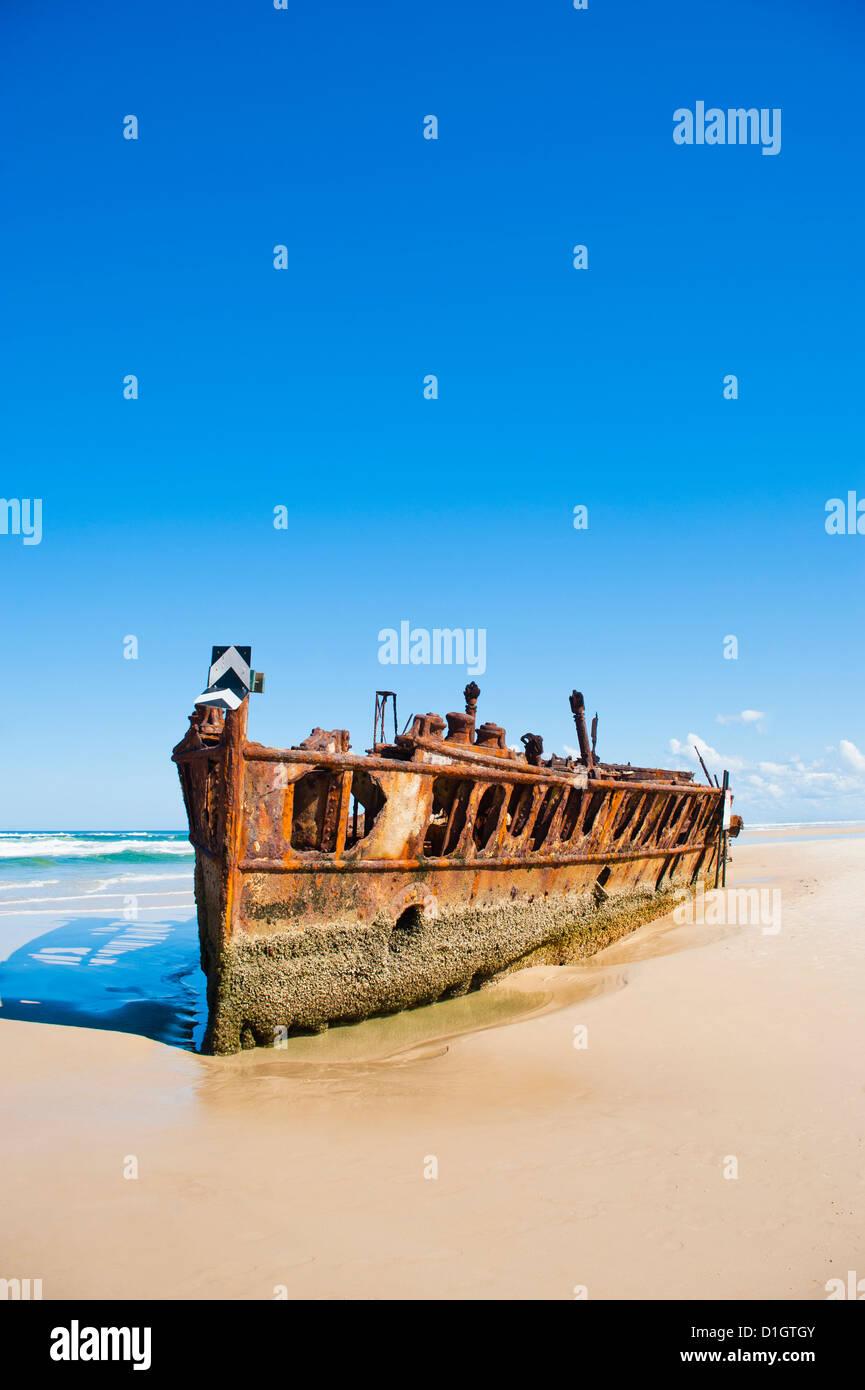 Maheno Shipwreck, Fraser Island, UNESCO World Heritage Site, Queensland, Australia, Pacific - Stock Image