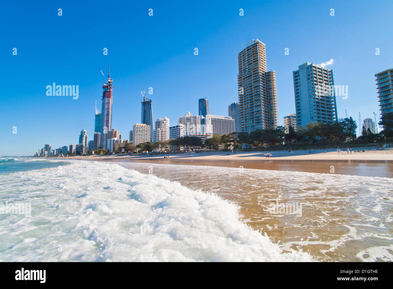 Surfers Paradise beach and high rise buildings, the Gold Coast, Queensland, Australia, Pacific - Stock Image