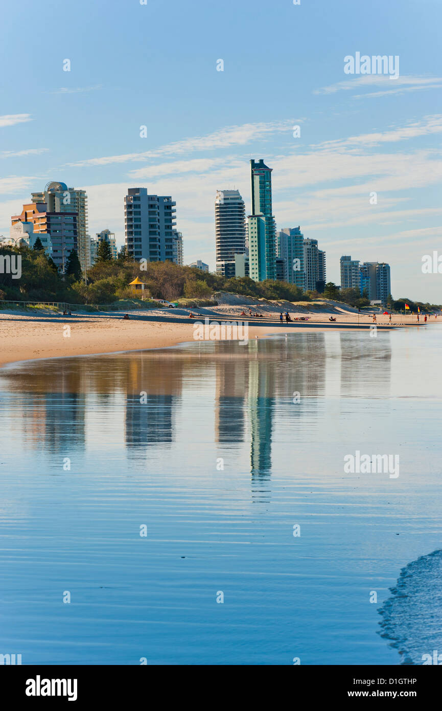 Reflections of high rise buildings at Surfers Paradise Beach, Gold Coast, Queensland, Australia, Pacific - Stock Image