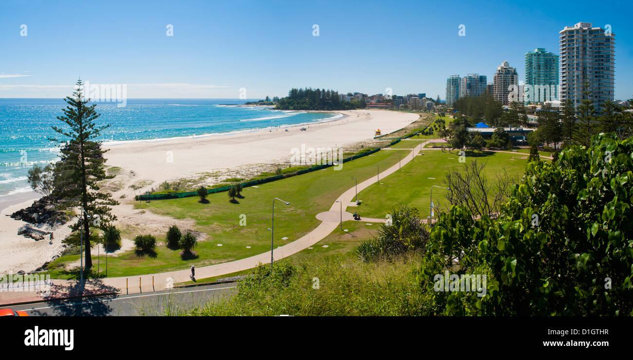 Coolangatta Beach and town panoramic, Gold Coast, Queensland, Australia, Pacifc - Stock Image