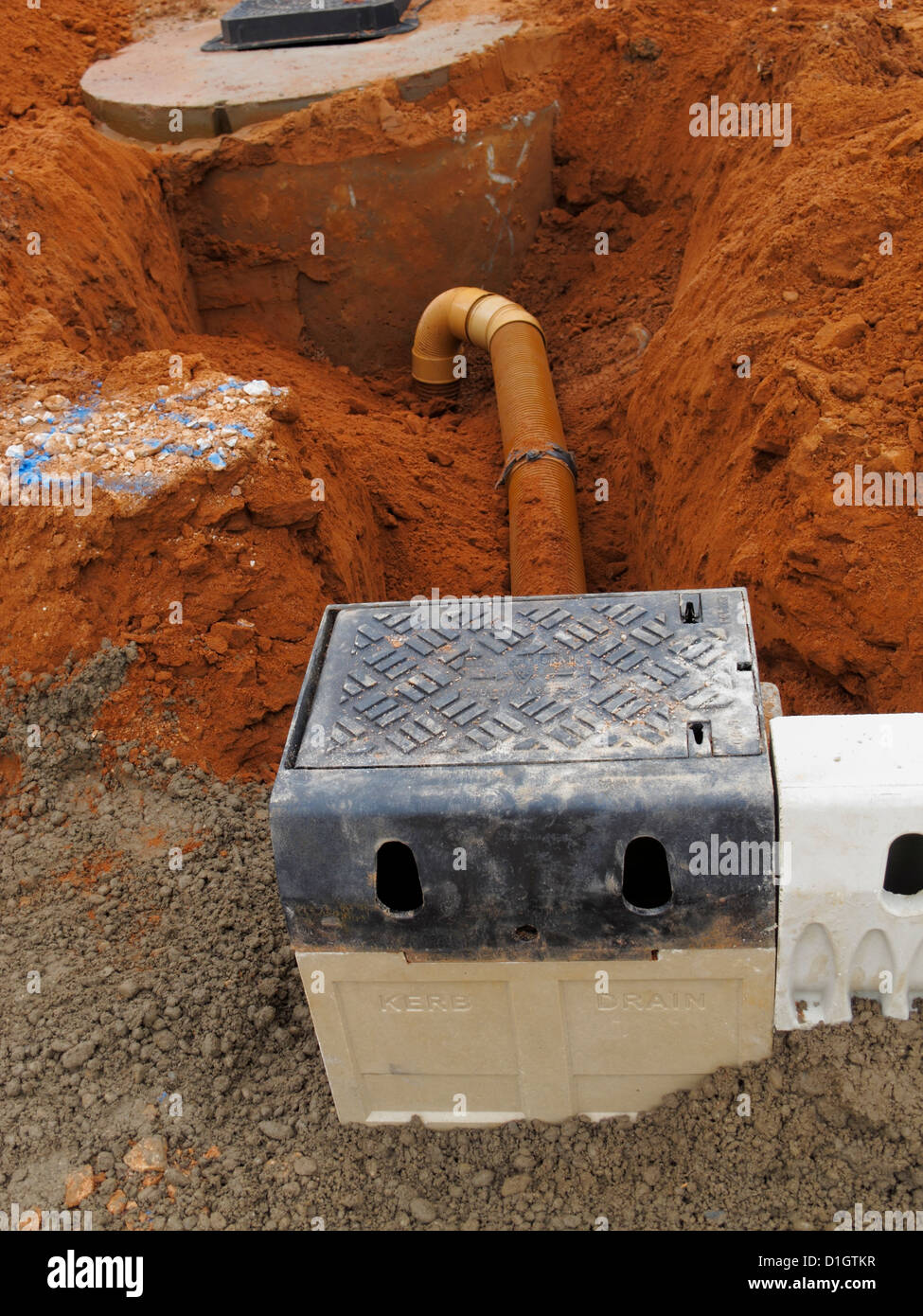 Road Construction Site Closeup Detail Aco Drainage Kerbs