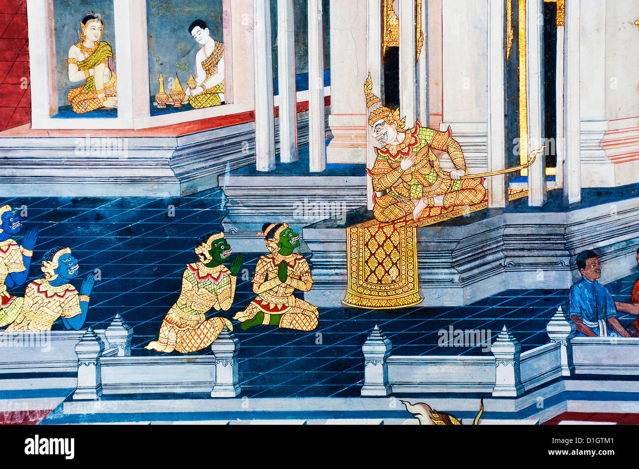 Detail of painting on the walls, The Grand Palace, Bangkok, Thailand, Southeast Asia, Asia - Stock Image