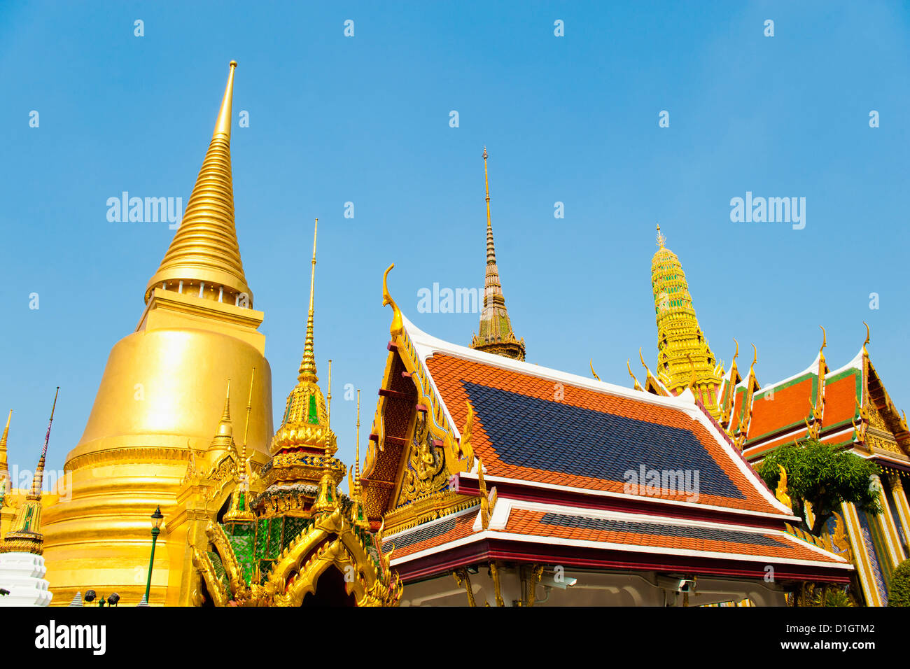 Gold spires at The Grand Palace, Bangkok, Thailand, Southeast Asia, Asia - Stock Image