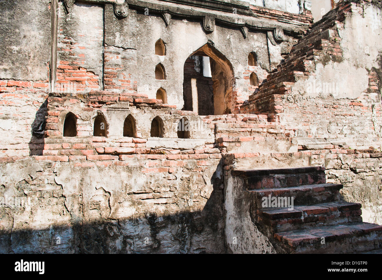 Ruins of old steps at King Narai's Palace, Lopburi, Thailand, Southeast Asia, Asia - Stock Image