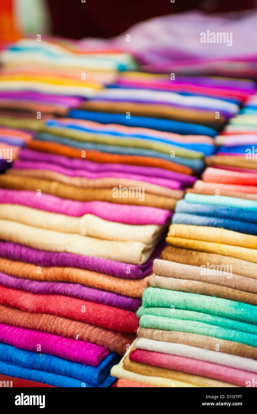 Traditional silk scarves of northern Thailand at the night market, Chiang Rai, Thailand, Southeast Asia, Asia - Stock Image
