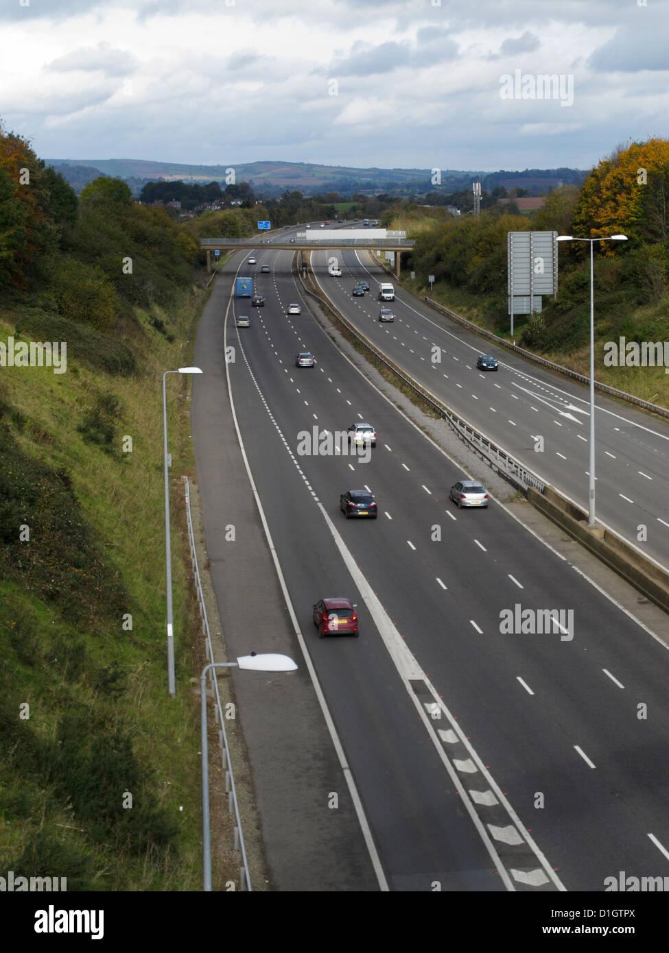 M5 motorway east of Exeter Devon UK Eastbound Slip Junction 29 - Stock Image