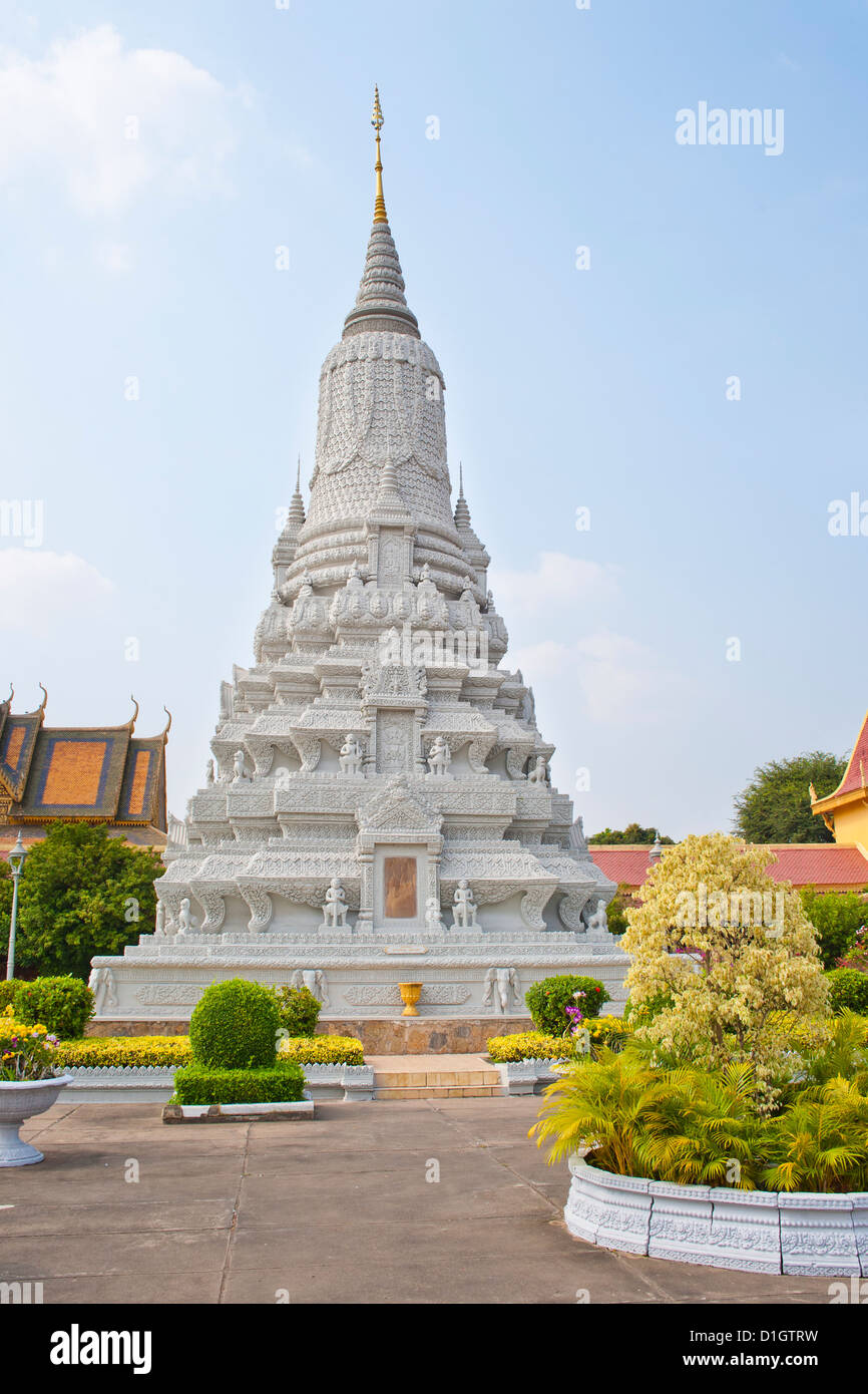 Stupa of King Norodom at The Silver Pagoda, (Temple of the Emerald Buddha), The Royal Palace, Phnom Penh, Cambodia, - Stock Image