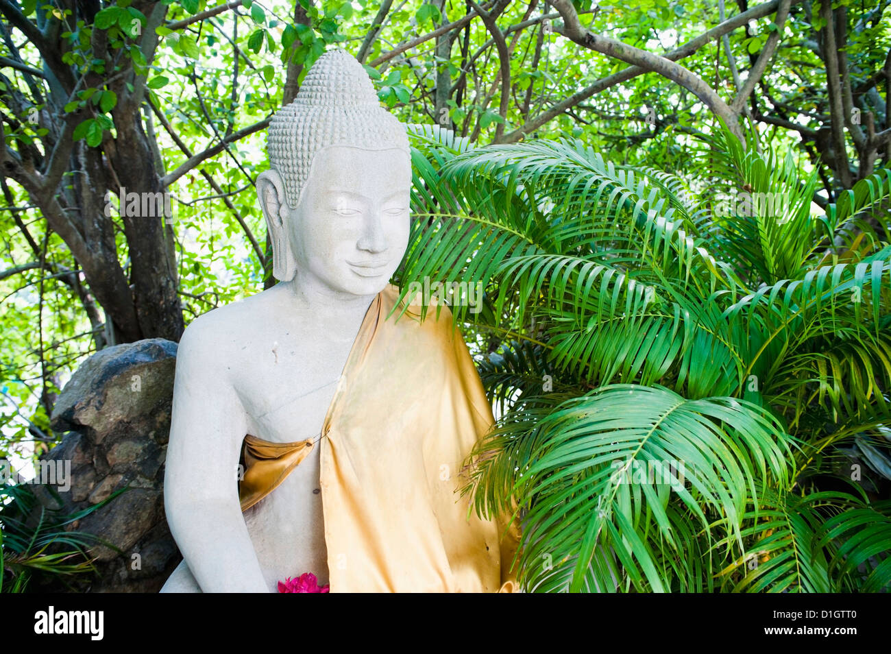 Stone Buddha in The Silver Pagoda at The Royal Palace, Phnom Penh, Cambodia, Indochina, Southeast Asia, Asia - Stock Image