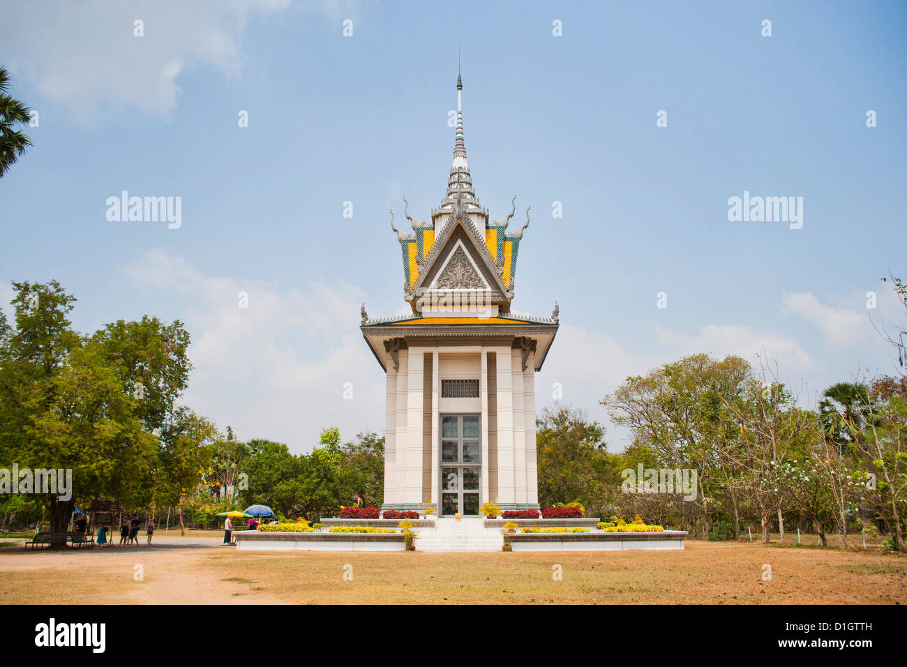 Memorial monument at The Killing Fields in Phnom Penh, Cambodia, Indochina, Southeast Asia, Asia - Stock Image
