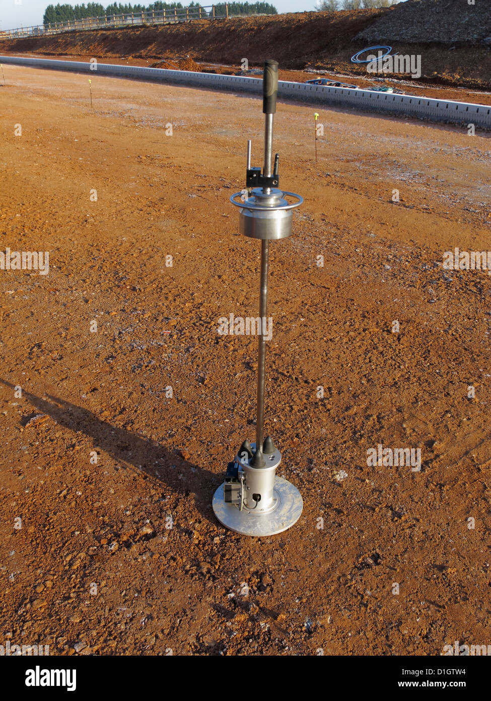 Dynamic Plate Bearing test apparatus on highway formation level road construction site UK - Stock Image