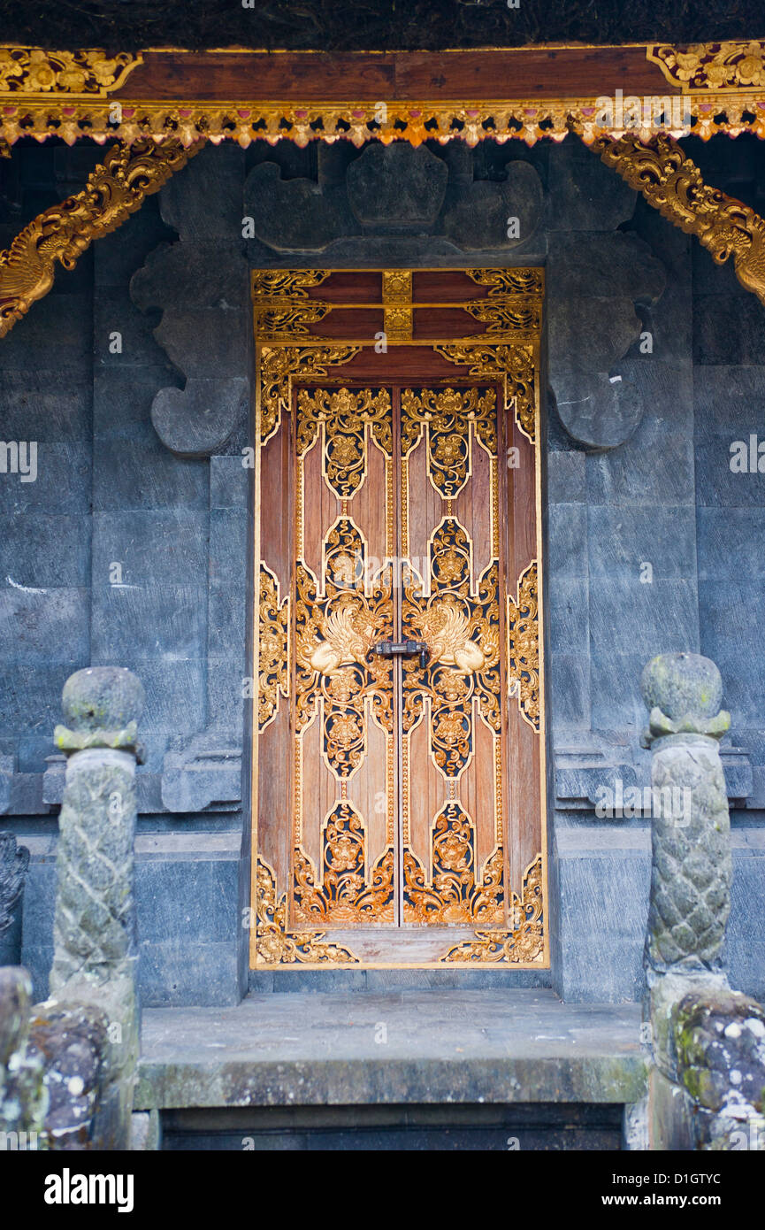 Beautiful gold door at Besakih Temple (Pura Besakih), Bali, Indonesia, Southeast Asia, Asia - Stock Image