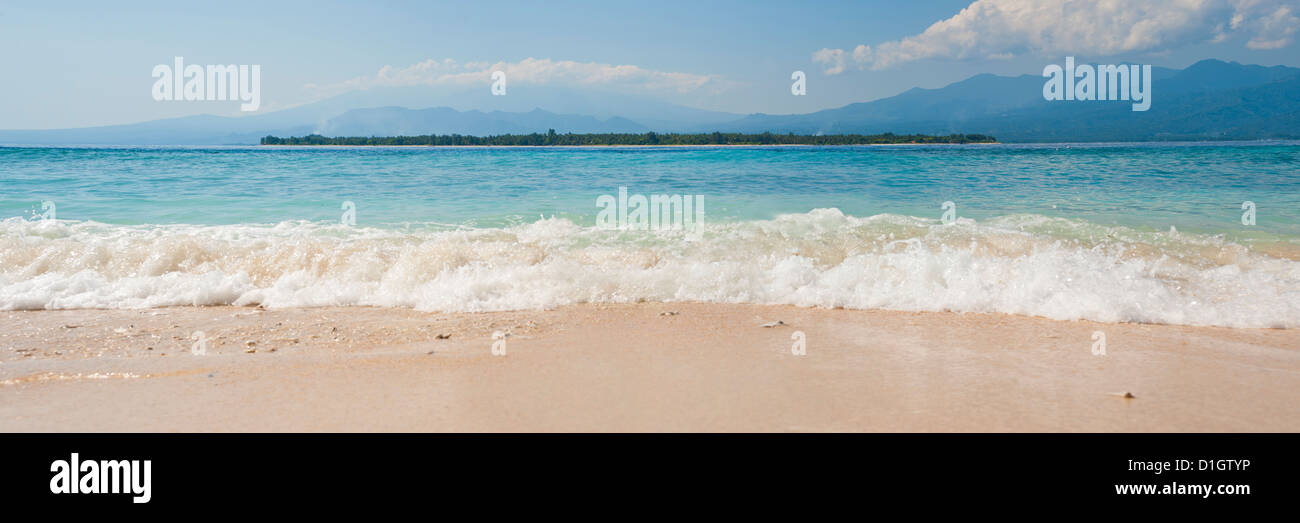 Island of Gili Air, with Gili Meno Beach in the foreground, Gili Islands, Indonesia, Southeast Asia, Asia - Stock Image