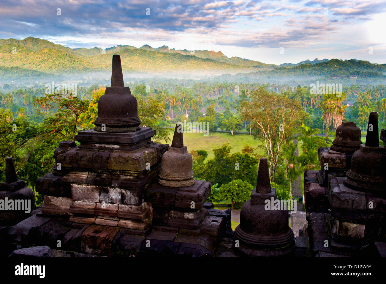 Stone Stupa at Borobodur on a misty morning at sunrise, Borobudur (Borobodur), Yogyakarta, Java, Indonesia, Southeast - Stock Image