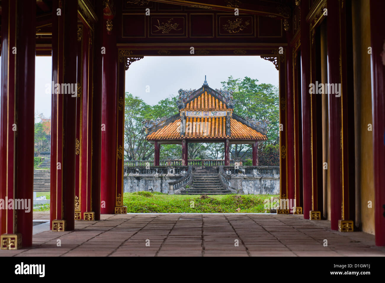 Pagoda in Hue Citadel, The Imperial City of Hue, UNESCO World Heritage Site, Vietnam, Indochina, Southeast Asia, - Stock Image