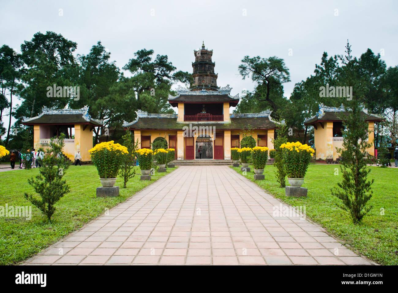 Buildings near the Thien Mu Pagoda, Hue, Vietnam, Indochina, Southeast Asia, Asia - Stock Image