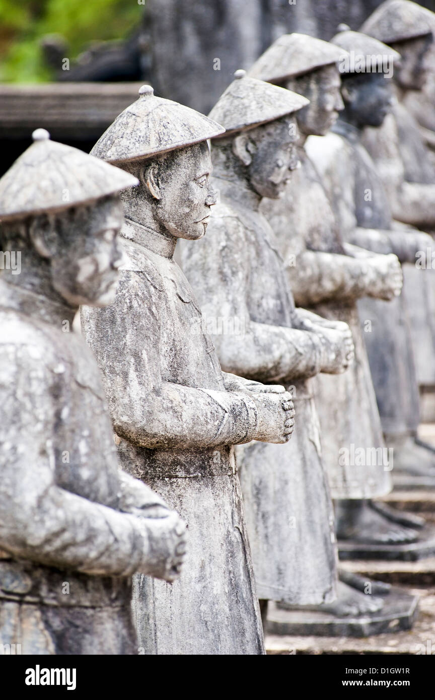 Line of stone statues at The Tomb of Khai Dinh, Hue, Vietnam, Indochina, Southeast Asia, Asia - Stock Image
