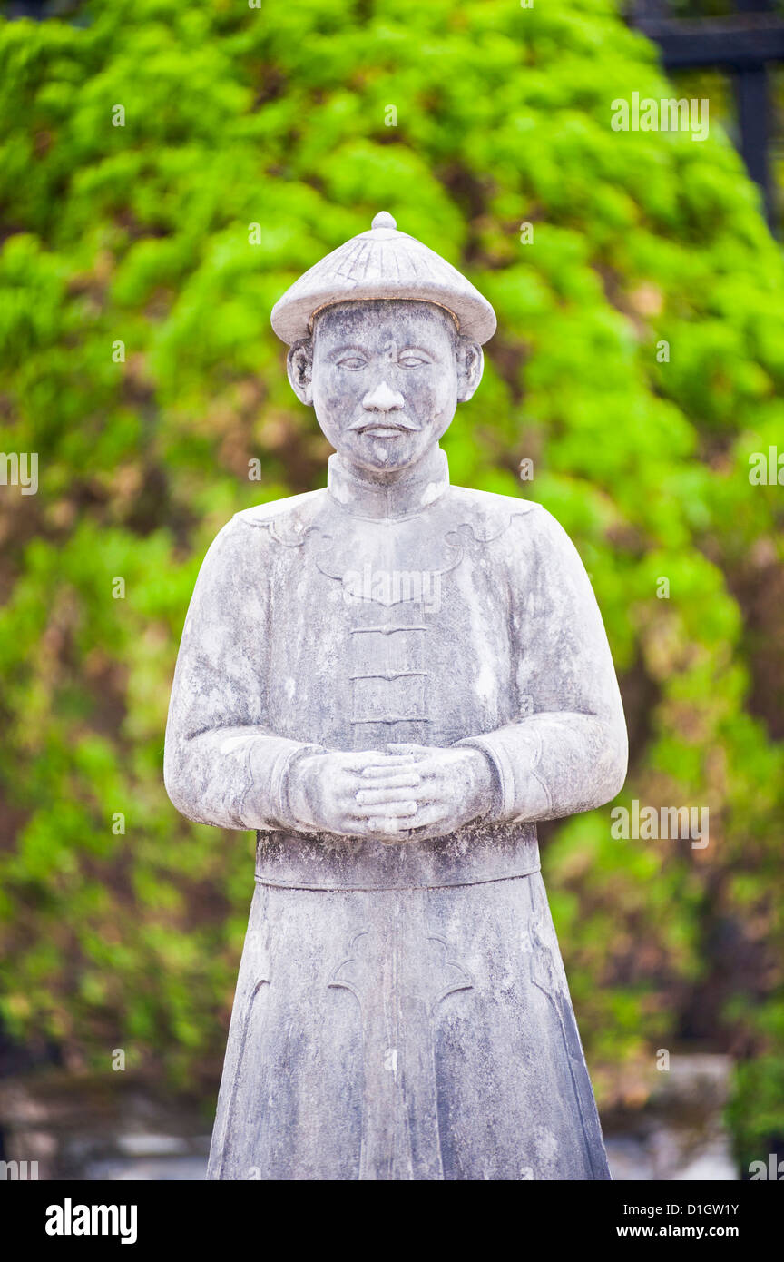 Stone statue at The Tomb of Khai Dinh, Hue, Vietnam, Indochina, Southeast Asia, Asia - Stock Image