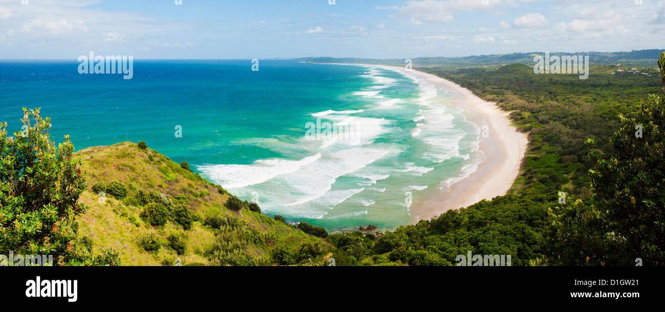 Panoramic aerial view of Tallow Beach at Byron Bay, New South Wales, Australia, Pacific - Stock Image