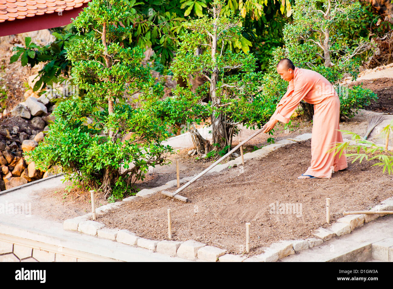 Buddhist monk gardening at a temple on top of Sam Mountain, Mekong Delta, Vietnam, Indochina, Southeast Asia, Asia - Stock Image