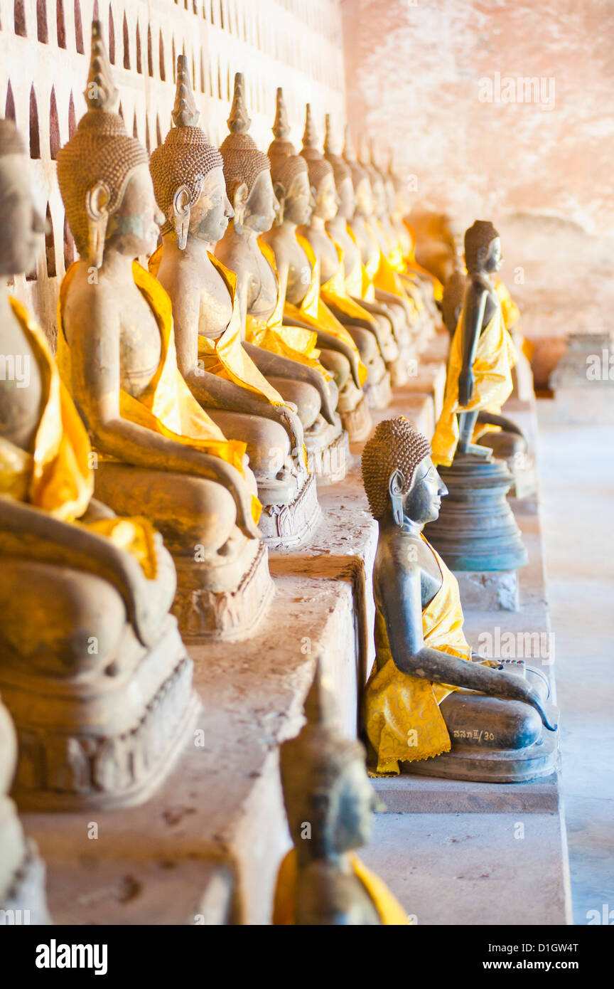 Buddhas at Wat Si Saket, the oldest temple in Vientiane, Laos, Indochina, Southeast Asia, Asia - Stock Image