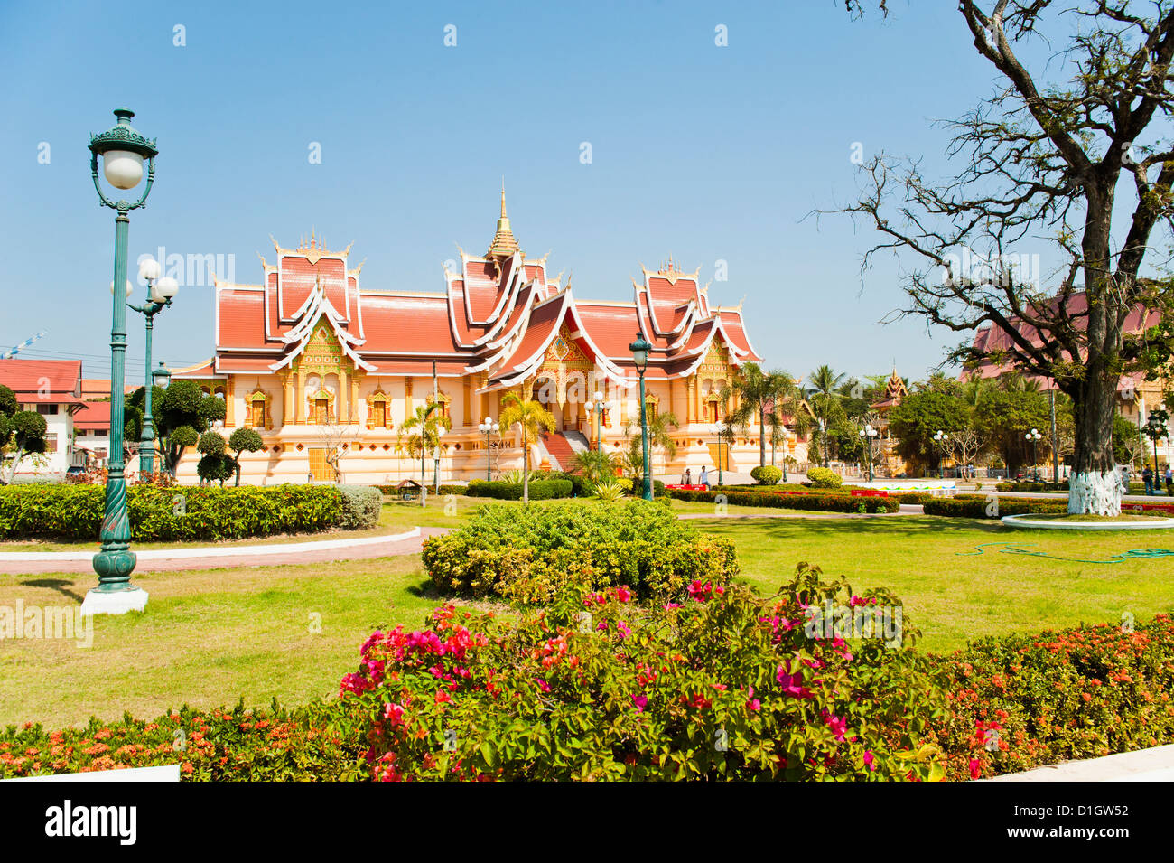 Beautifully decorated building at Pha That Luang, Vientiane, Laos, Indochina, Southeast Asia, Asia - Stock Image