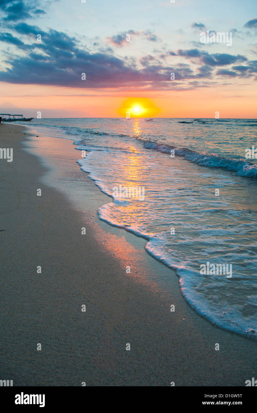 Sunset on the tropical island of Gili Trawangan, Gili Islands, Indonesia, Southeast Asia, Asia - Stock Image