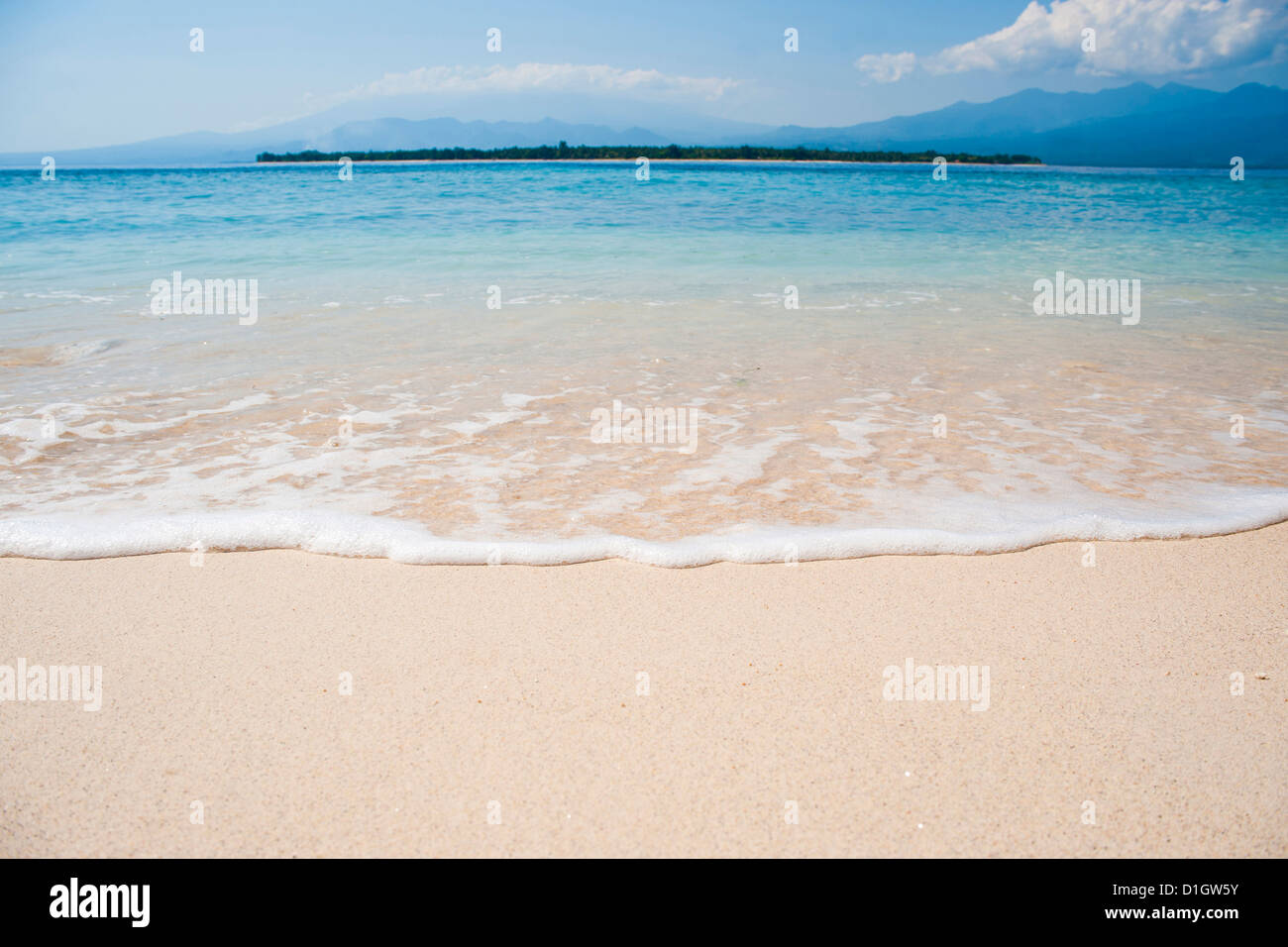 The tropical island of Gili Air, with Gili Meno beach in the foreground, Gili Isles, Indonesia, Southeast Asia, - Stock Image