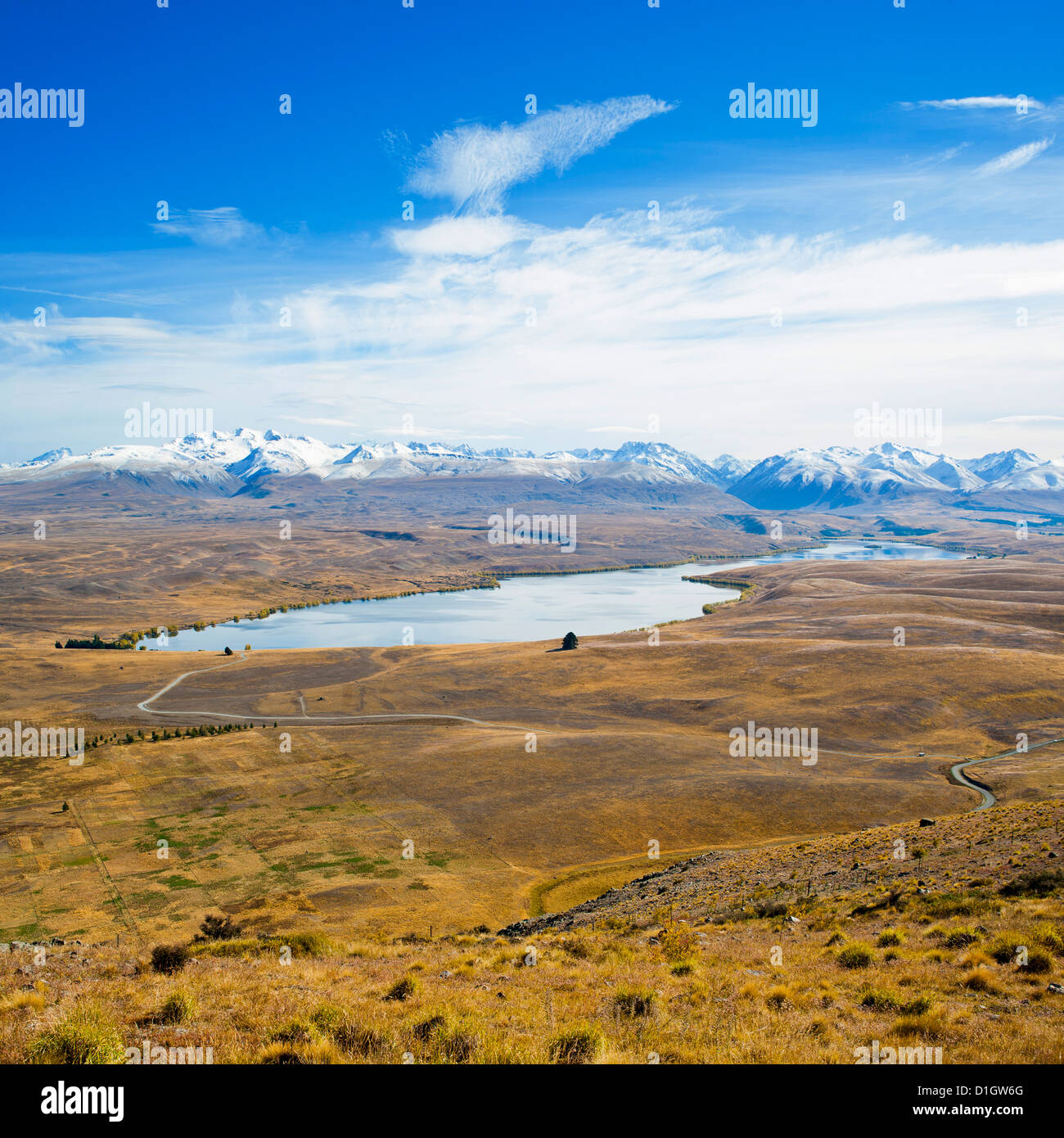 Lake Alexandrina and snow capped mountains in Canterbury, South Island, New Zealand, Pacific - Stock Image
