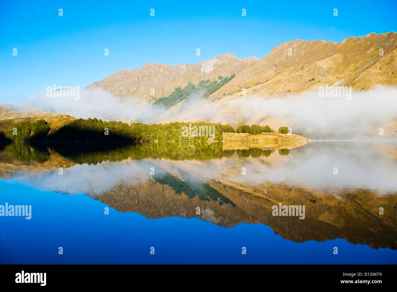 Misty dawn reflections on calm Lake Moke, Queenstown, Otago, South Island, New Zealand, Pacific - Stock Image