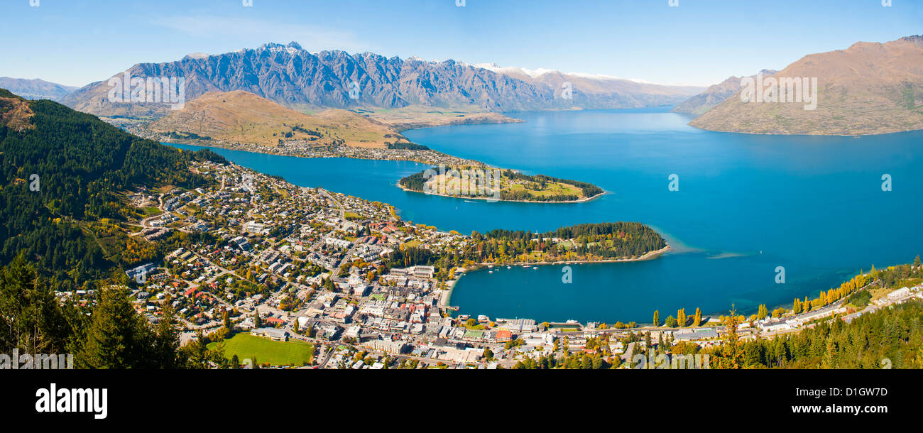 Aerial view of Queenstown, Lake Wakatipu and the Remarkable mountains, Otago Region, South Island, New Zealand, - Stock Image