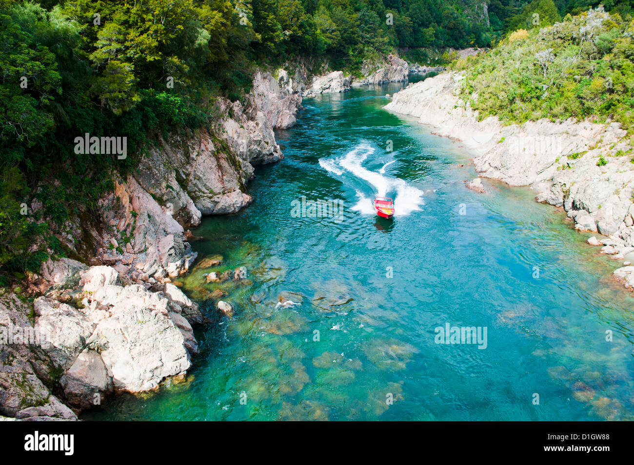 Jetboating on the Buller River at Buller Gorge Swingbridge, South Island, New Zealand, Pacific - Stock Image