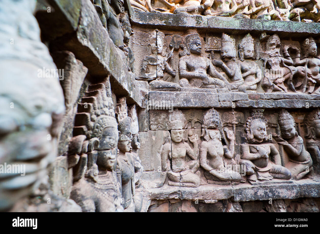 Bas relief stone carvings at the Terrace of the Leper King, Angkor Thom, Siem Reap Province, Cambodia, Indochina, - Stock Image