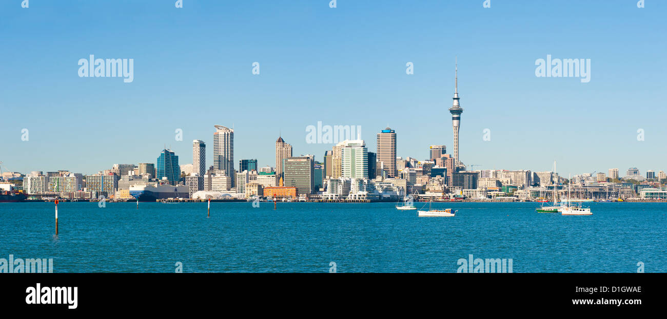 Panorama of the Auckland city skyline, Auckland, North Island, New Zealand, Pacific - Stock Image
