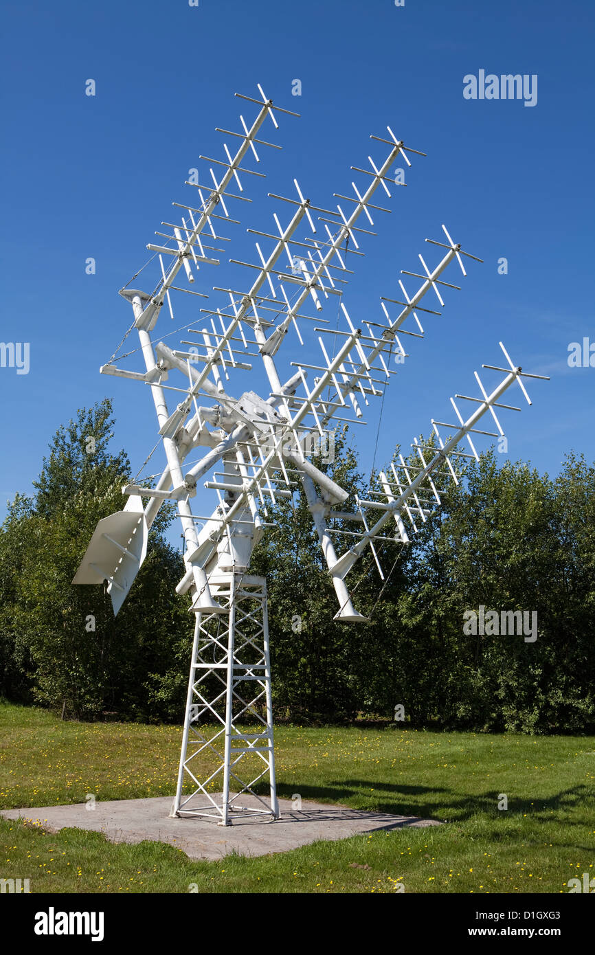 High-frequency antenna from ESA, European Space Agency, 1980s, Euro Space Center, Transinne, Belgium, Europe - Stock Image