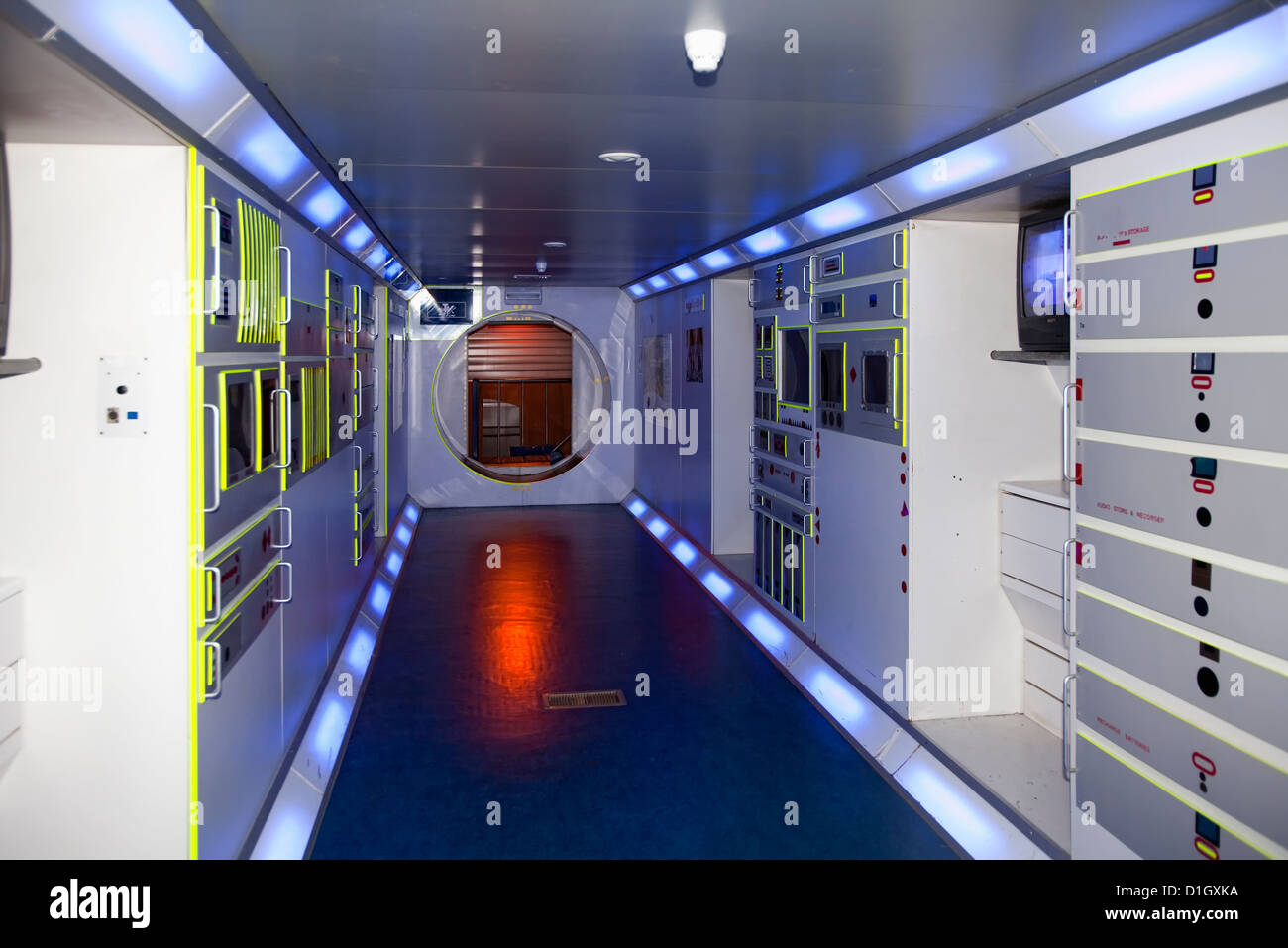 Model of the Columbus lab module for the ISS, International Space Station, Euro Space Center, Transinne, Belgien, - Stock Image