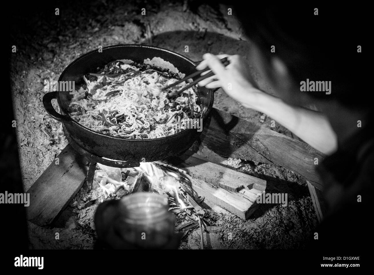 Vegetable stir fry over a wooden fire - Stock Image