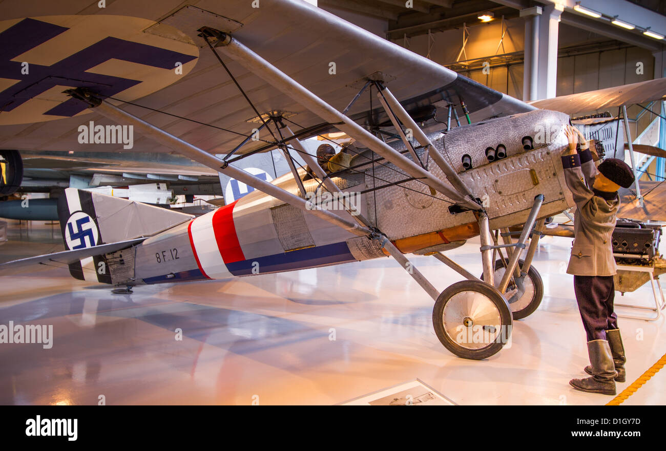 French fighter Gourdou-Leseurre GL.22 at the Aviation Museum of Central Finland. - Stock Image