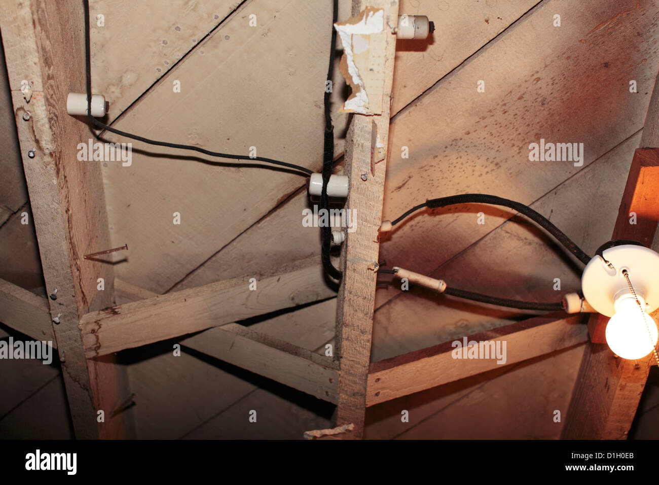 Old Wiring Stock Photos Images Alamy Light Knob And Tube Bulb Image