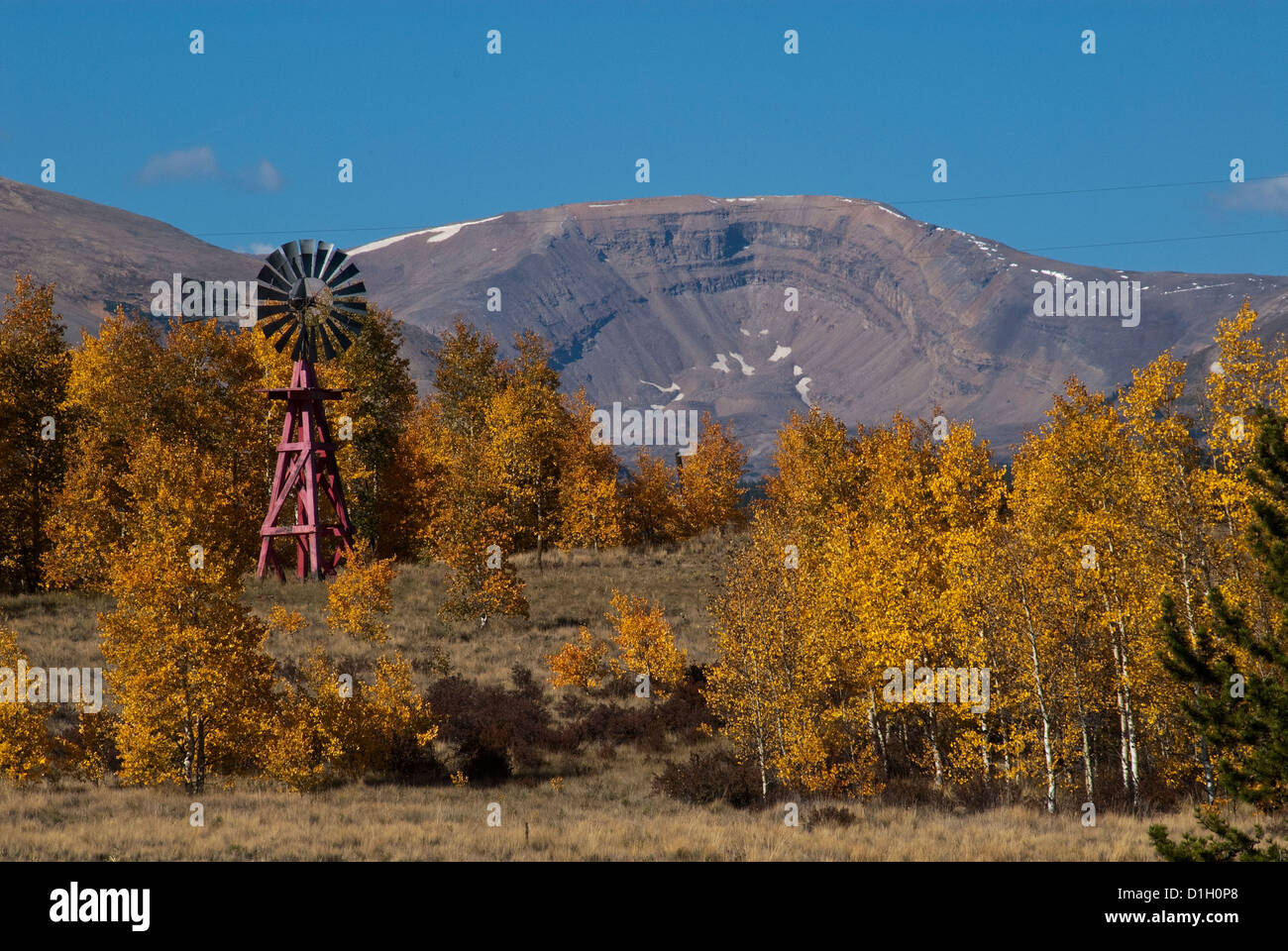 Windmill and fall colors near Fairplay Park County Colorado USA - Stock Image