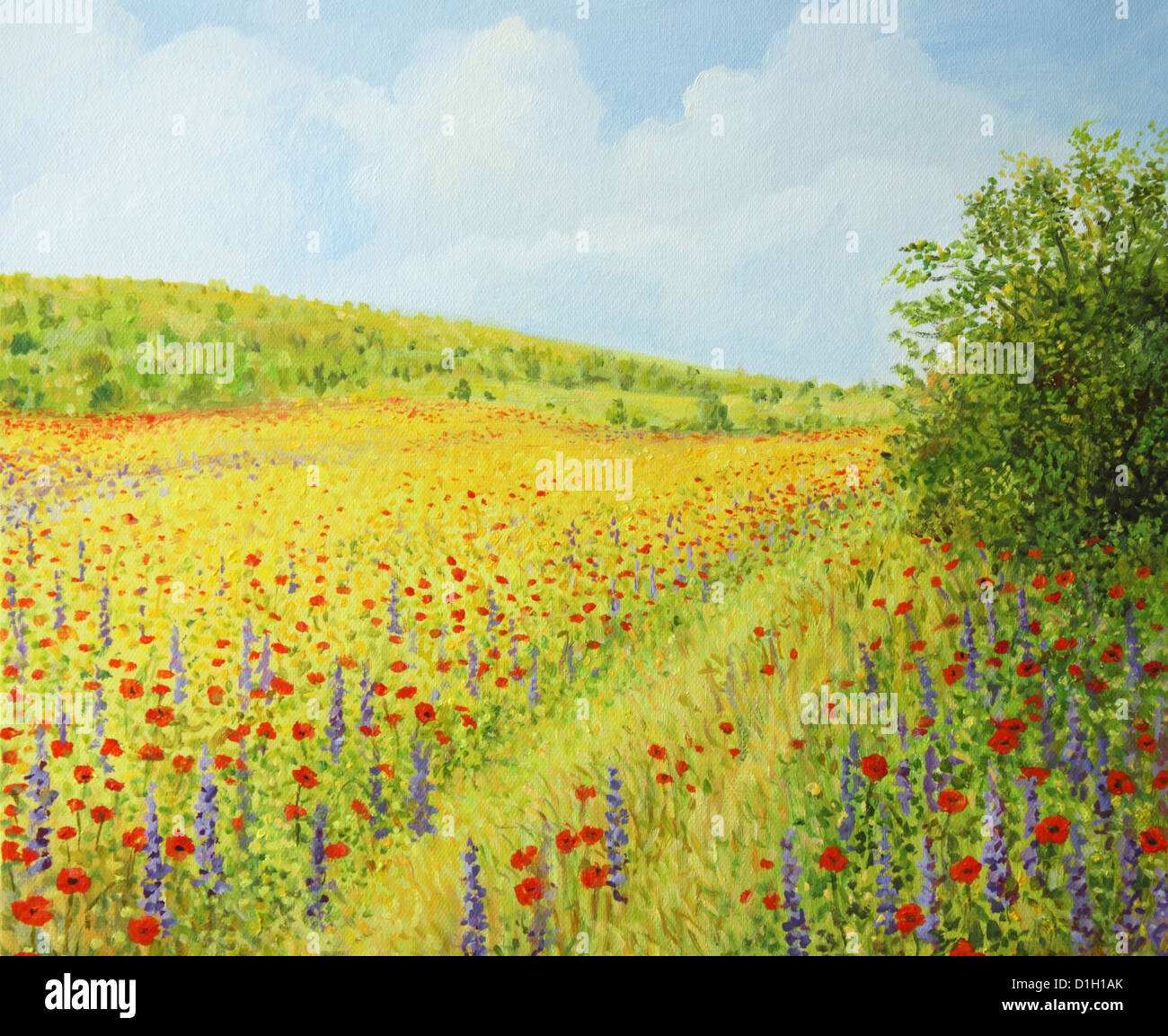 An Oil Painting On Canvas Of A Vibrant Field With Wild Spring