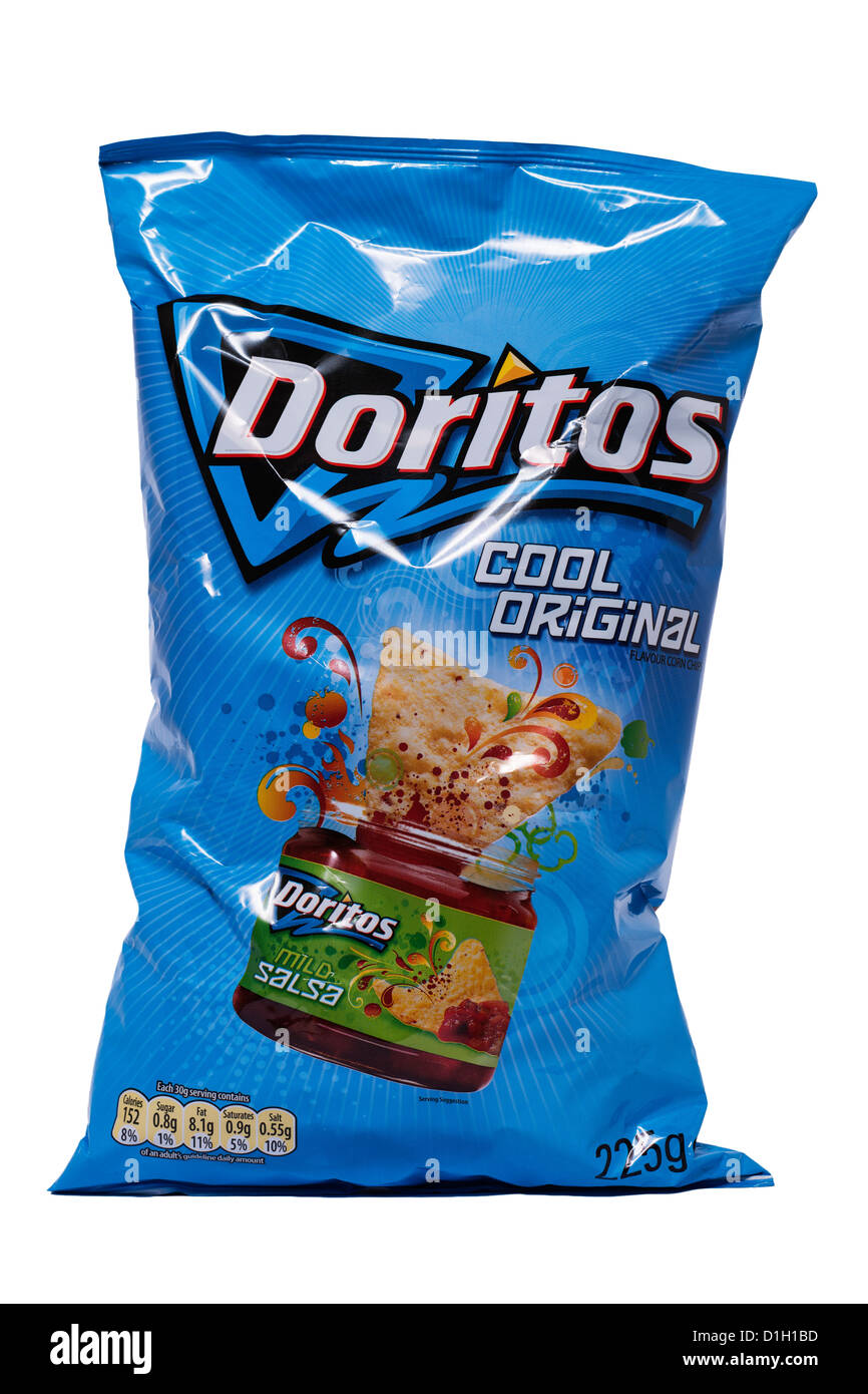 A packet of cool original Doritos on a white background - Stock Image